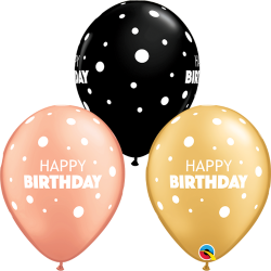 Birthday Big & Little Dots Latex Balloons, Qualatex 13242, pack of 25 pieces