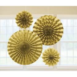 Decoratiuni aurii cu sclipici in forma de rozeta , 20.3/30.4/40.6 cm, Amscan 295000-19, set 4 buc