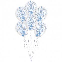 Baloane latex 11'' + confetti albastre, 9903278, Set 6 buc