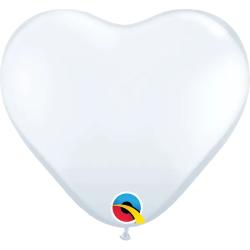 "11"" White Latex Heart Balloons, Qualatex 43735"