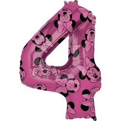 Balon Folie Figurina Minnie Mouse Forever Cifra 3 roz- 66 cm, Amscan 40138, 1 buc