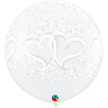 3' Printed Jumbo Latex Balloons Entwined Hearts, Qualatex 31496