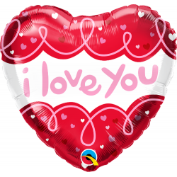 Balon Folie 45 cm - I Love You, Qualatex 97174