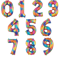 "Balon Folie Mare Cifra 0-9 Rainbow- 34""/86 cm, Radar, 1 buc"