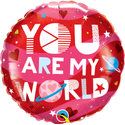 Balon Folie 45 cm - You Are My World, Qualatex 97171