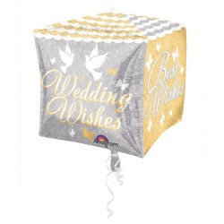 Balon Folie Cubez Shimmering Wedding Wishes - 38x 38 cm, Amscan 28779