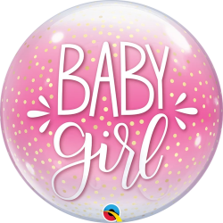 Baby Girl Pink & Confetti Dots Bubble Balloon, Qualatex 10035