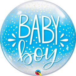 Baby Boy Blue & Confetti Dots Bubble Balloon, Qualatex 10040