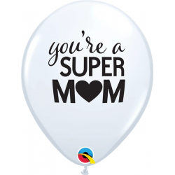 Baloane Latex 11''/28 cm - You're A Super Mum, Qualatex 11268, set 25 buc