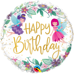 Balon Folie 45 cm Birthday Wild Flower Fairies, Qualatex 12263