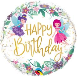 Birthday Wild Flower Fairies Balloon Foil, Qualatex 12263