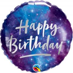 Balon Folie 45 cm Birthday Galaxy, Qualatex 12273