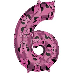 Balon Folie Figurina Minnie Mouse Forever Cifra 6 roz- 66 cm, Amscan 41708, 1 buc