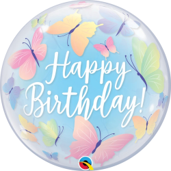 Balon Bubble Birthday Soft Butterflies 22''/ 56 cm, Qualatex 13086