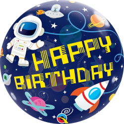 Balon Bubble Birthday Outer Space 22''/ 56 cm, Qualatex 13079