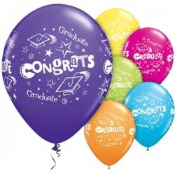 """11"""" Round """"Congrats Grad"""" latex balloons- Tropical Assortment, Qualatex 26548"""