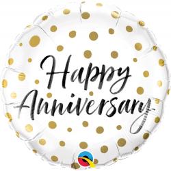 Happy Anniversary Gold Dots Foil Balloon, Qualatex 85847