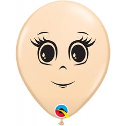 Blush Latex Balloon Feminine Face, 5 inch (13 cm), Qualatex 49979, Pack of 100 pieces