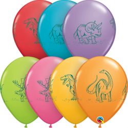 Dinosaurs in Action Latex Balloons, Qualatex 37097