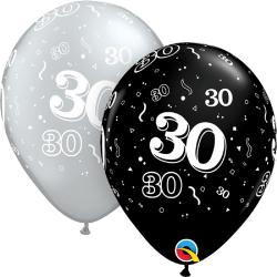 "Latex Balloons 11"" Silver & Black 30 years, Qualatex 25224"