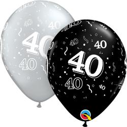 "Latex Balloons 11"" Silver & Black 40 years, Qualatex 25225"