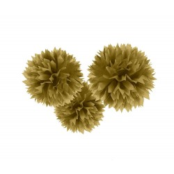 Decoratiuni pompoane aurii de agatat - 40.6 cm, Amscan 18055-19-55, set 3 bucati