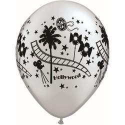 """11"""" Printed Latex Balloons, Hollywood Stars Silver, Qualatex 92037"""