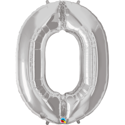 """Number 0 Silver SuperShape Foil Balloon - 38"""", Qualatex 30392"""