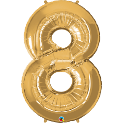 """Number 8 Gold SuperShape Foil Balloon - 42"""", Qualatex 30501"""