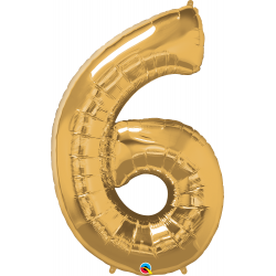 """Number 6 Gold SuperShape Foil Balloon - 42"""", Qualatex 30493"""