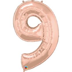 "Number 9 Rose Gold SuperShape Foil Balloon - 42"", Qualatex 57880"