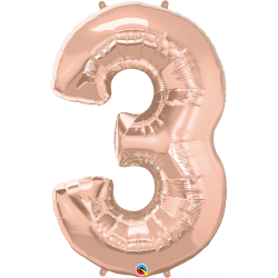 Balon Folie Figurina Cifra 3 Rose Gold - 44''/111 cm, Qualatex 57874