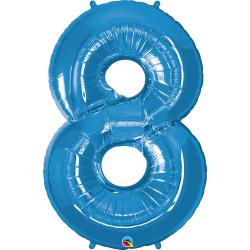 Number 8 Blue SuperShape Foil Balloon - 42'', Qualatex 30543