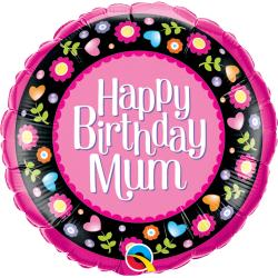 Birthday Mum Pink & Floral Border Balloon Foil, 18'' Qualatex 36603