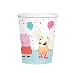 8 Cups Peppa Pig 250 ml, Amscan 9906333