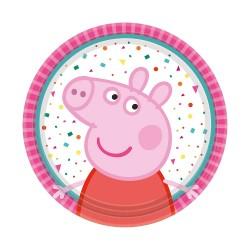 Farfurii carton Peppa Pig pentru petrecere copii - 18 cm, Amscan 9906330, set 8 buc