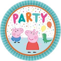 Farfurii carton Peppa Pig pentru petrecere copii - 23 cm, Amscan 9906329, set 8 buc