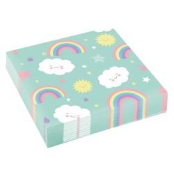 Servetele de masa pentru petrecere copii - Rainbow & Cloud, 33 x 33 cm, Amscan 9904302, set 20 buc