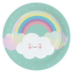 8 Plates Rainbow & Cloud Paper Round 22.8 cm, Amscan 9904299