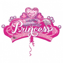 "SuperShape ""Princess Crown & Gem"" Foil Balloon, 81 x 48cm, Amscan 34571"