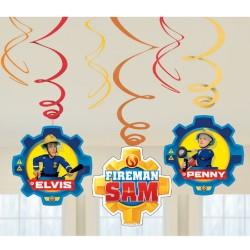 6 Swirl Decorations Fireman Sam Foil/ Paper 61 cm, Amscan 9902183