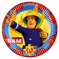 8 Plates Fireman Sam Paper Round 22.8 cm, Amscan 9902175