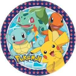 8 Plates Pokemon Paper Round 22.8 cm, Amscan 9904820