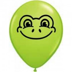 """5"""" Printed Latex Balloons, Frog Face Lime Green, Qualatex 97344"""