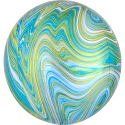 Balon Folie Orbz Blue Green Marblez - 38 x 40 cm, Radar 41393