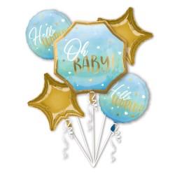 Bouquet Blue Baby Boy Foil Balloon, Radar 39732, pack of 5 pieces