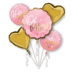 Bouquet Pink Baby Girl Foil Balloon, Radar 39726, pack of 5 pieces