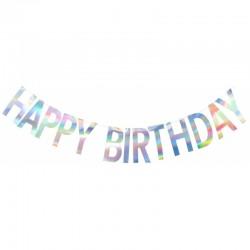 Banner decorativ pentru petrecere Happy Birthday Iridescent + varsta - 2 m, Qualatex 15994