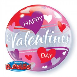 "Balon Bubble 22""/56 cm, Red and Pink Hearts, Q 27404"