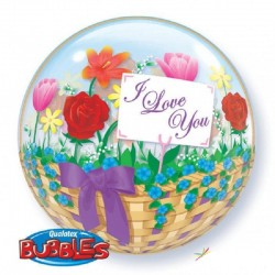 Balon Bubble 22''/56 cm I Love You Flower Basket, Q 81074